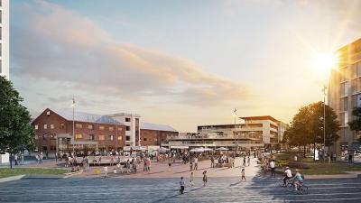 Visionsbild av det nya torget på Godisfabriken