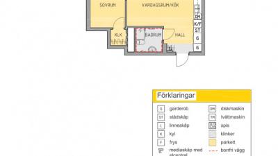 Planlösning 2 rum och kök
