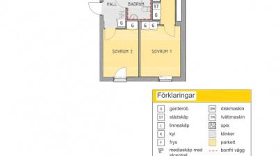 Planlösning 3 rum och kök