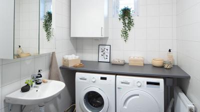 Interörbild badrum och tvättmaskin